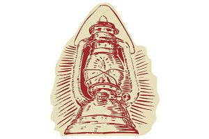Kerosene Lamp Etching