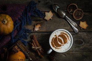 Autumn pumpkin spice latte on rustic