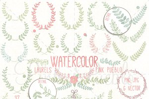 Watercolor Laurels Clipart & Vectors