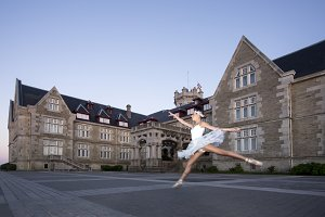 Ballerina jump outdoor