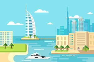 Dubai city beach skyline