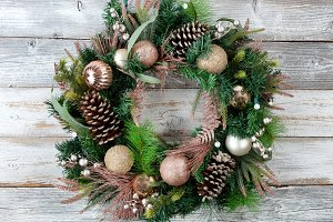 Christmas holiday wreath and lights