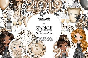 New Year Watercolor Cliparts