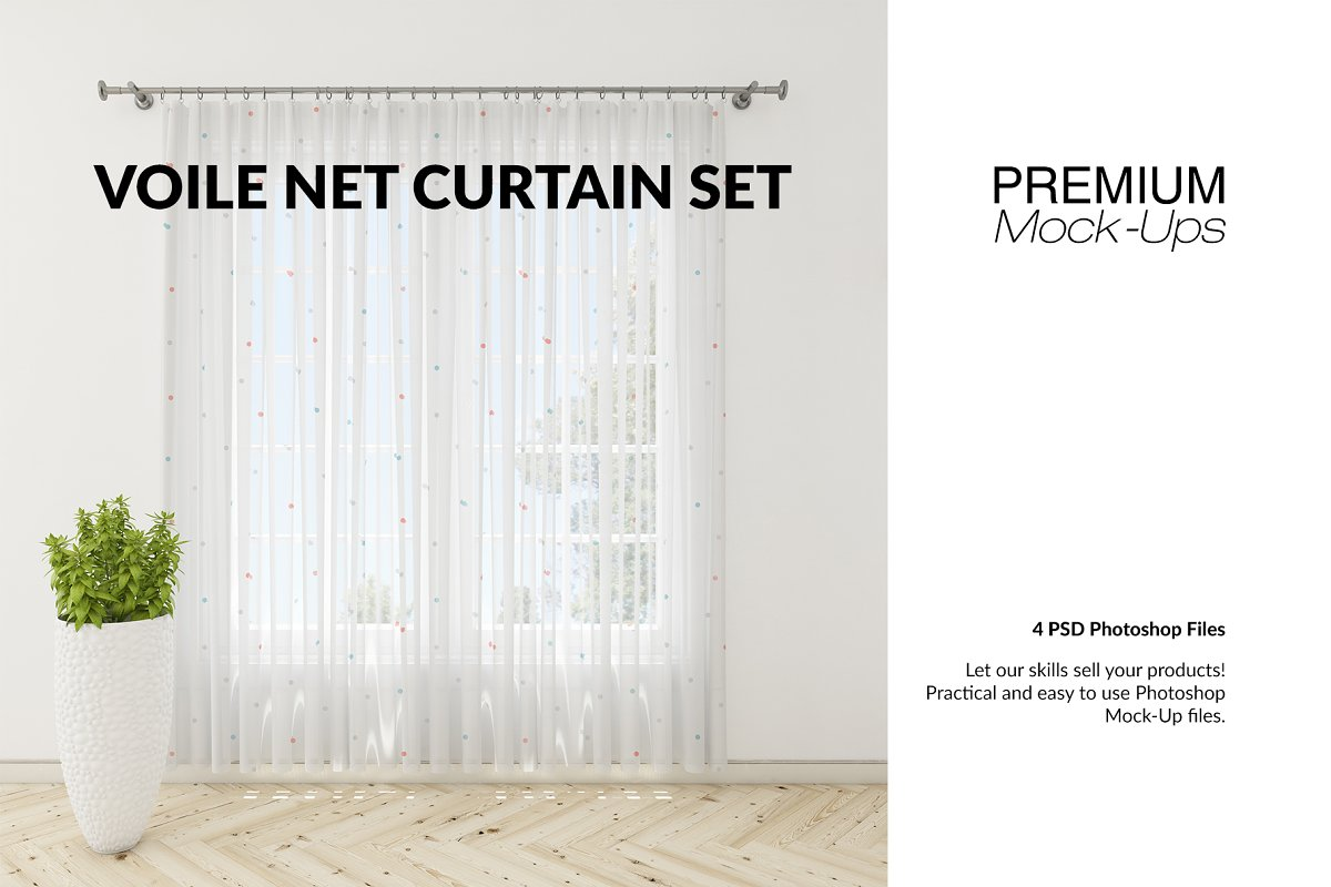 Voile Net Curtain Set in Product Mockups