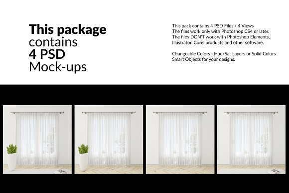 Voile Net Curtain Set in Product Mockups - product preview 1