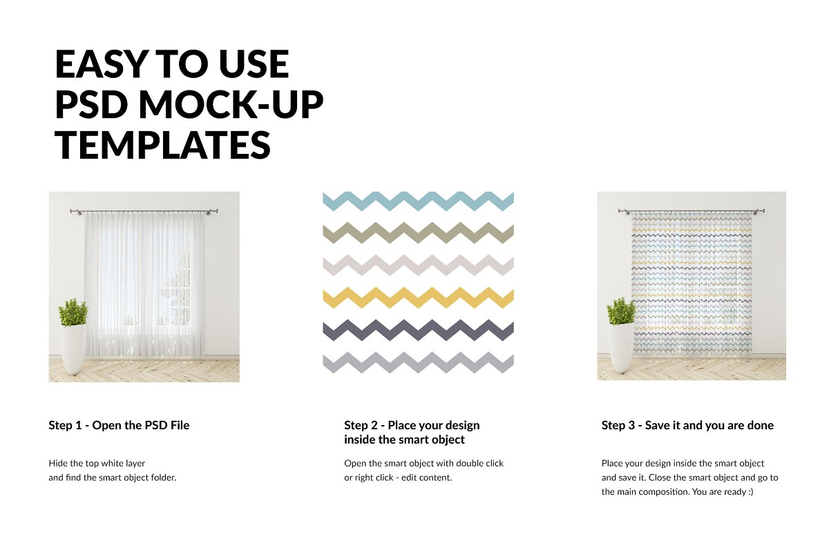 Voile Net Curtain Set in Product Mockups - product preview 2