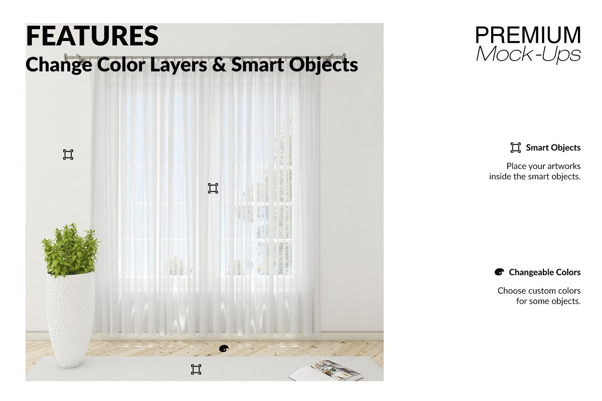 Voile Net Curtain Set in Product Mockups - product preview 3