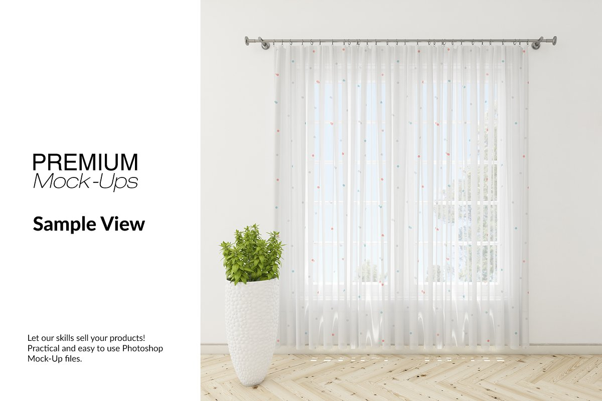 Voile Net Curtain Set in Product Mockups - product preview 4