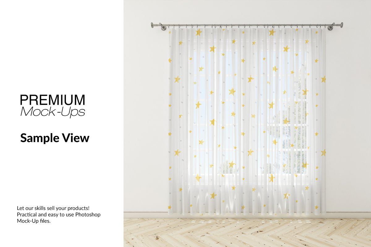 Voile Net Curtain Set in Product Mockups - product preview 5