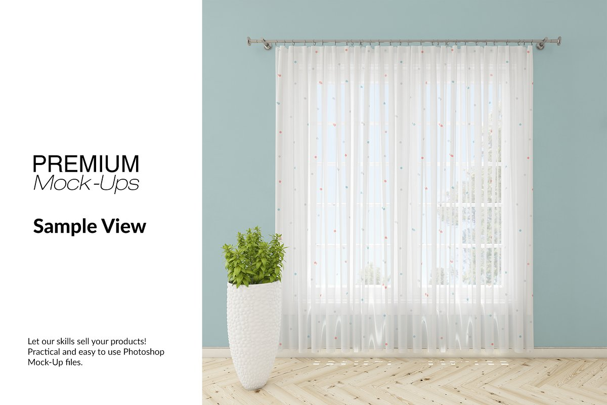 Voile Net Curtain Set in Product Mockups - product preview 6