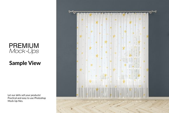 Voile Net Curtain Set in Product Mockups - product preview 7