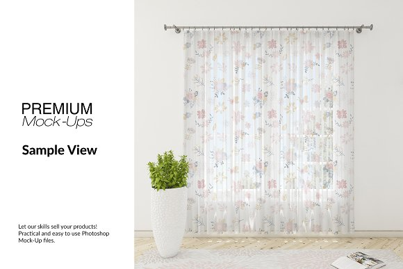 Voile Net Curtain Set in Product Mockups - product preview 8