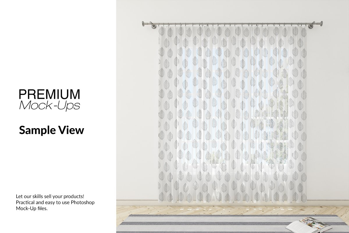 Voile Net Curtain Set in Product Mockups - product preview 9