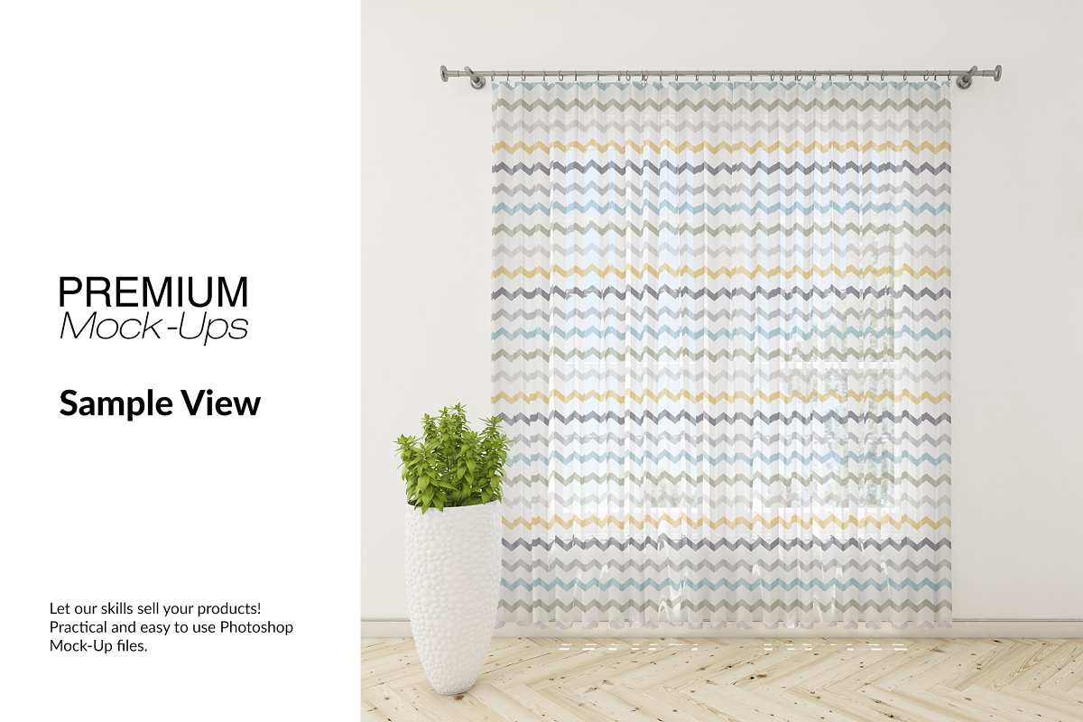 Voile Net Curtain Set in Product Mockups - product preview 10