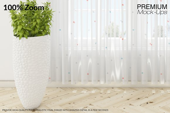 Voile Net Curtain Set in Product Mockups - product preview 11