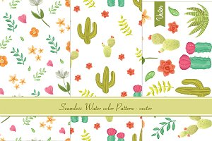 flower, cactus watercolor pattern
