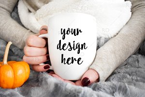 Mug Mockup with Pumpkin and Blanket