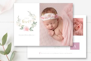 Its a Girl Birth Announcement Card