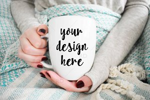Mug Mockup with Aqua Striped Blanket