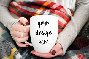 Mug Mockup with Plaid Blanket