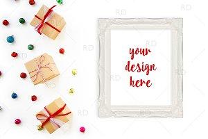 Christmas Frame Mockup Gift Boxes