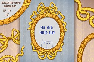 Antique baroque photo frame