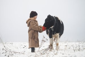 A little girl and a cow. Winter