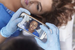 microblading, woman pre-visualizing,