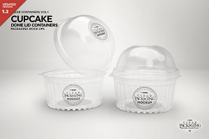 Dome Lid Cupcake Container Mockup