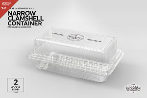 Narrow Clamshell Container Mockup