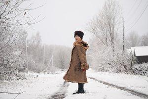 Portrait of child. Beautiful winter