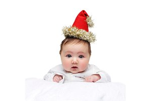 beautiful baby girl in christmas hat