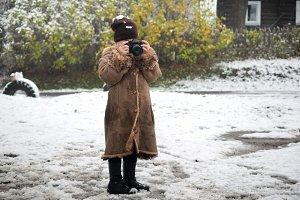 Baby photographer. A little girl