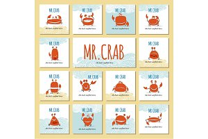Funny crab, banner set for your