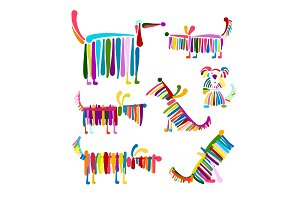 Funny dog, colorful collection for