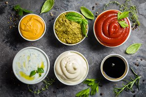 Selection of different sauces in