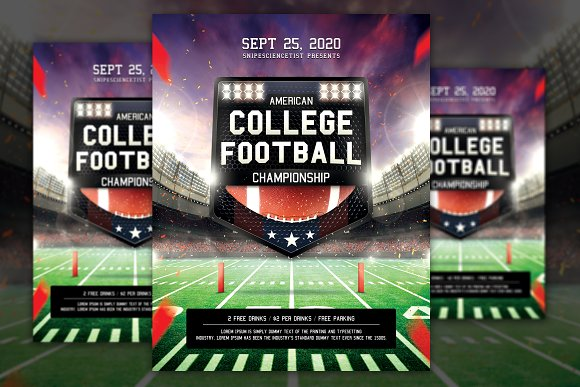 College Football Flyer Template Flyer Templates Creative Market