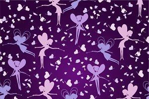 Pattern with silhouette fairies