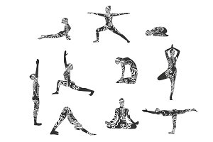 Yoga silhouette vector set
