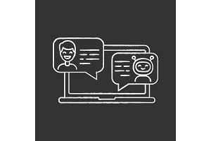Support chatbot chalk icon