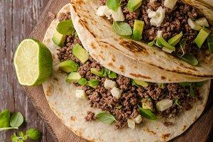 Homemade minced beef tortilla, fresh