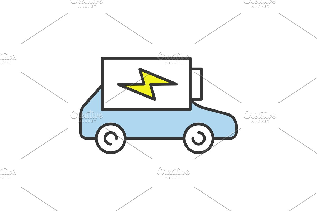 Electric Car Battery Charging Icon Icons Creative Market