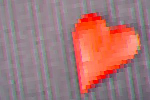 Red Heart in Glitch style