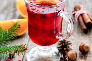 Glass of hot mulled wine