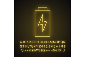 Battery charging neon light icon
