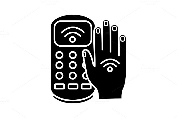 NFC payment terminal glyph icon ~ Icons ~ Creative Market