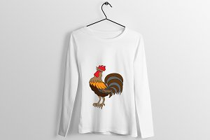 Rooster T shirt Design Illustration