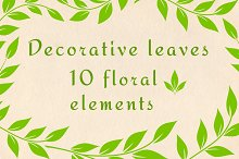 Decorative green leaves