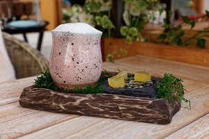 Clay glass with cocktail