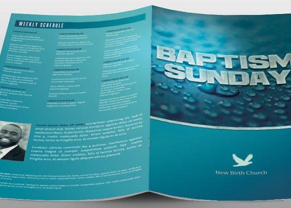 baptism sunday church bulletin brochure templates creative market